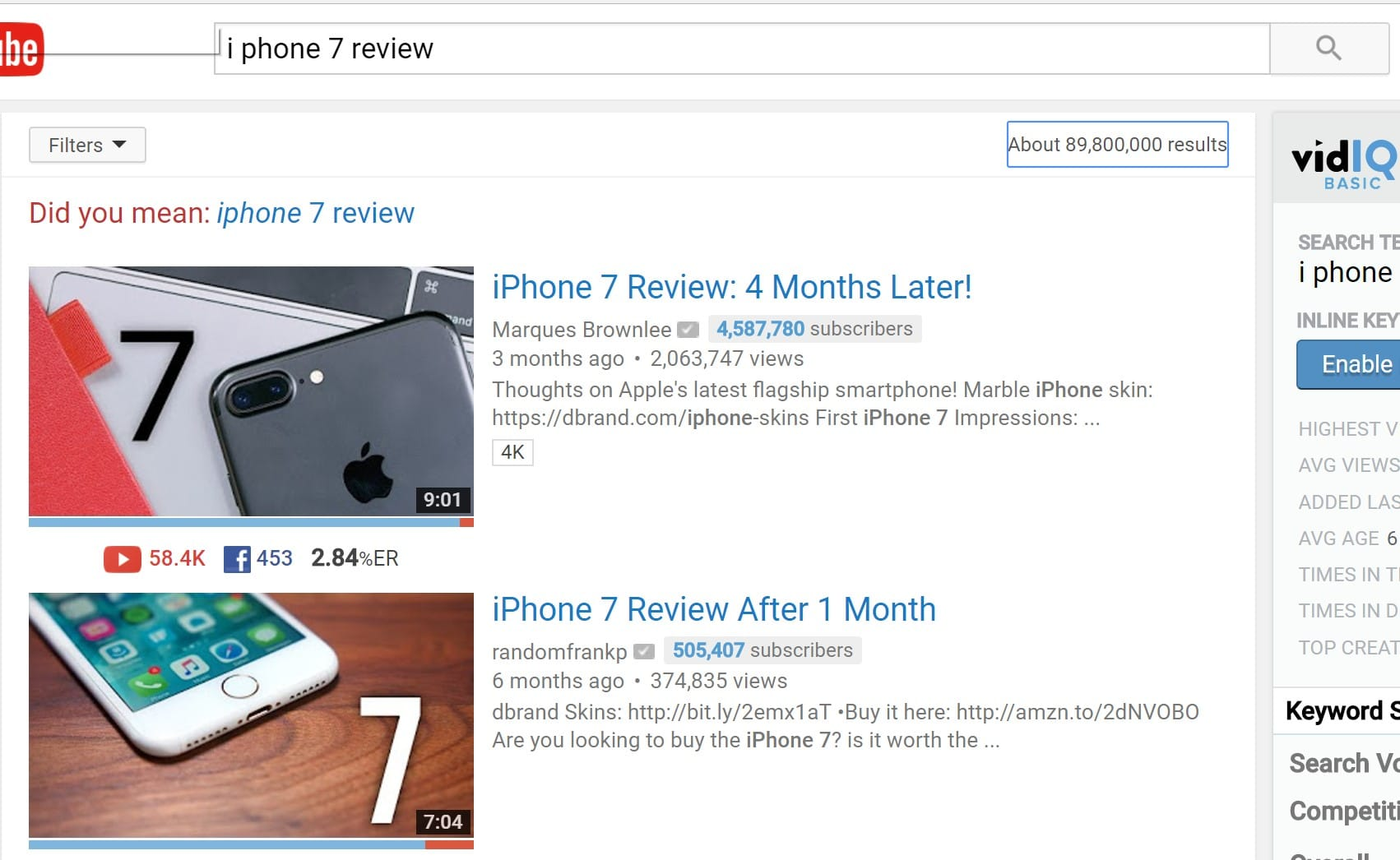 Here are some results from Youtube when searching Iphone 7 reviews