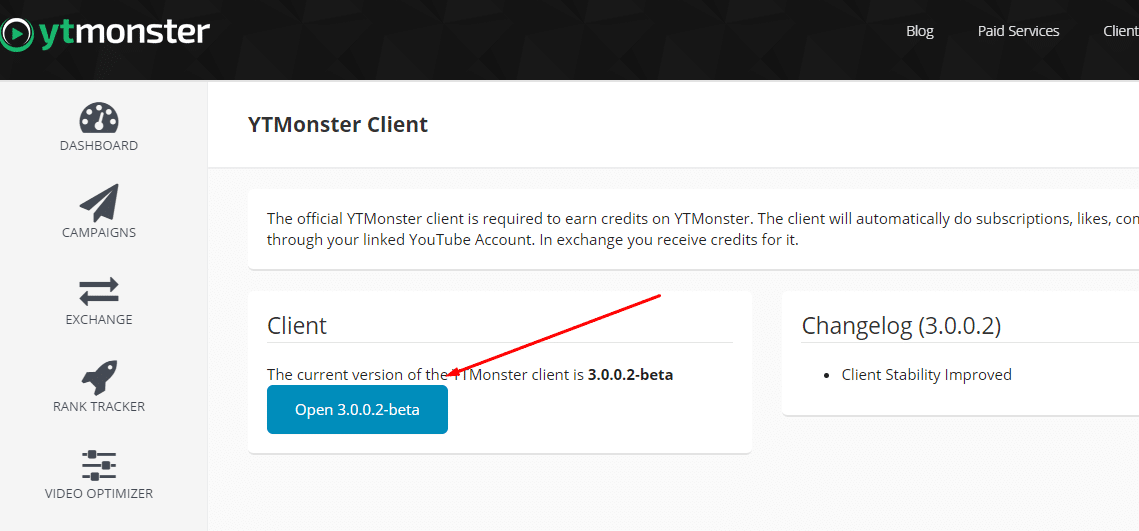 YTMonster Beta Düğmesi