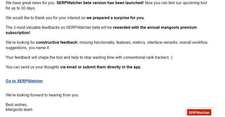 SERPWatcher Review Mail