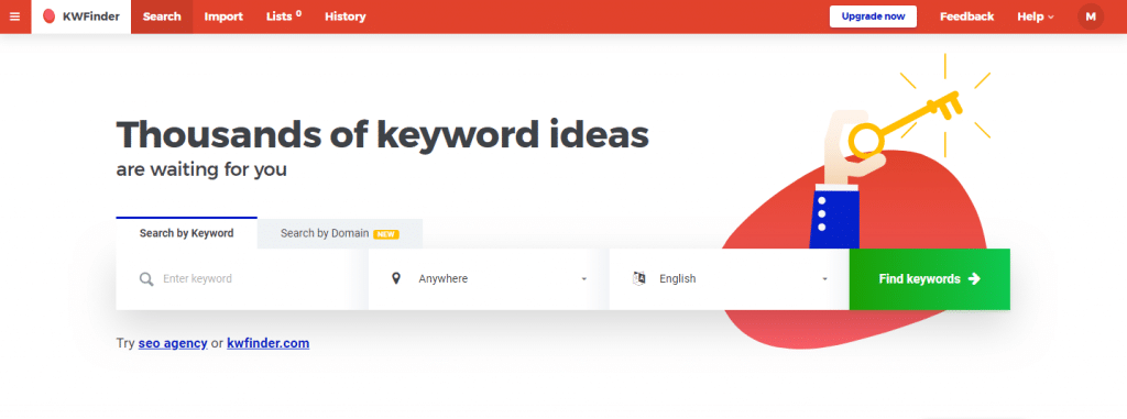KWFinder Review: keyword search box