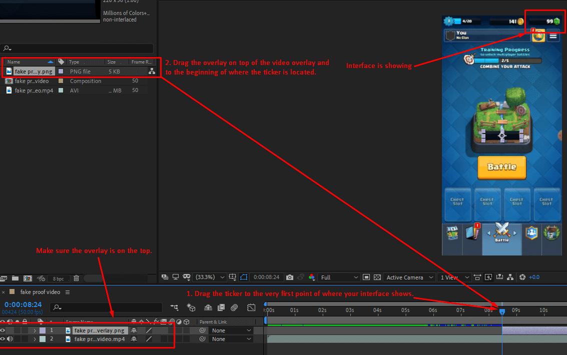 adjust time and drag overlay