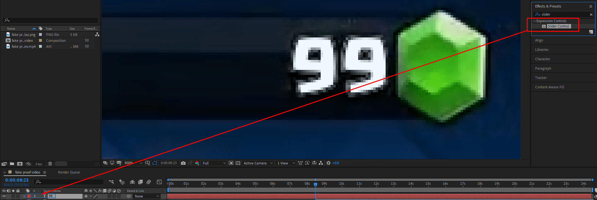 drag slider control effect